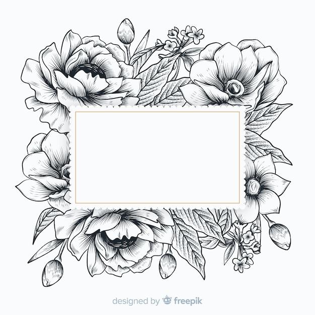 Fleurs réalistes dessinés à la main avec bannière vierge Vecteur gratuit