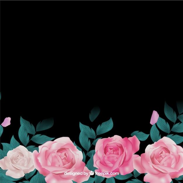 Fleurs réalistes sur fond sombre Vecteur gratuit