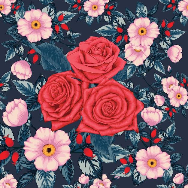 Fleurs roses de modèle sans couture rouge Vecteur Premium