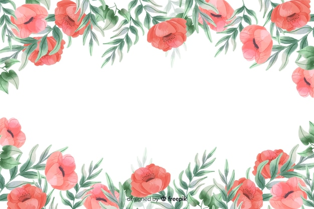 Fleurs rouges cadre fond avec dessin aquarelle Vecteur gratuit