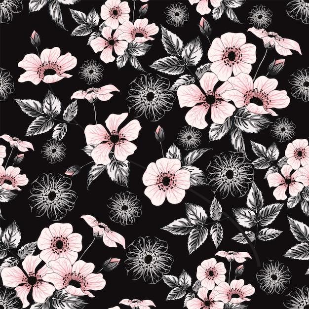 Fleurs Sauvages De Couleur Rose Pastel De Modèle Sans