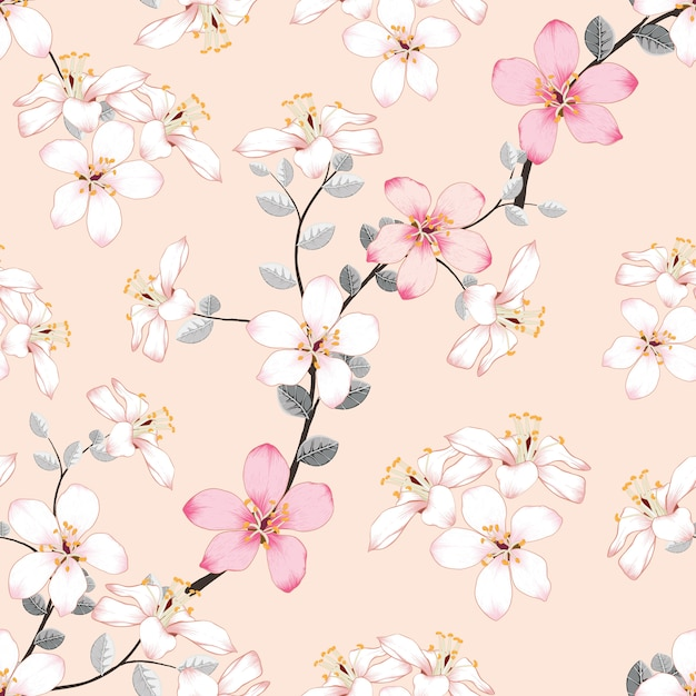 Fleurs Sauvages Rose Transparente Motif Sur Fond Pastel Isolé Vecteur Premium