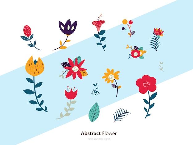 Fleurs set icon Vecteur Premium
