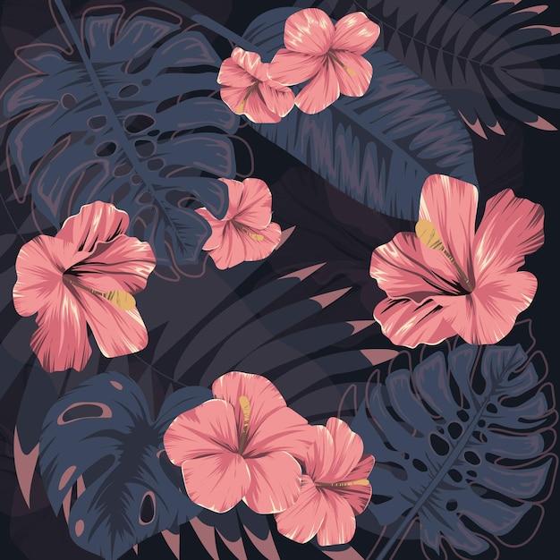 Fleurs Tropicales. Feuilles Exotiques. Imprimé D'été. Illustration De Monstre Et De Palmiers. Vecteur Vecteur Premium