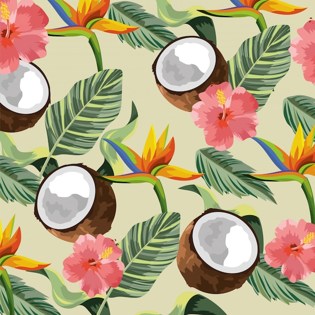 Fleurs tropicales avec fond de noix de coco et feuilles Vecteur Premium