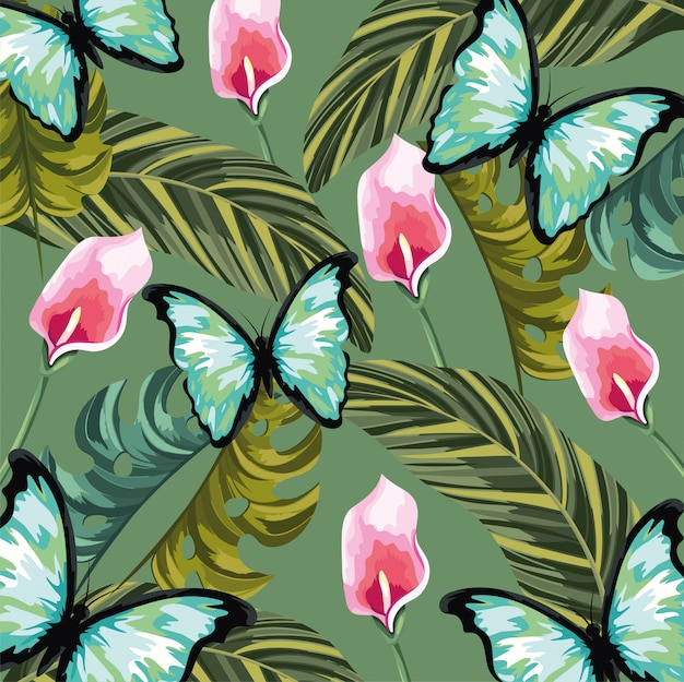 Fleurs tropicales avec fond papillon et feuilles Vecteur Premium