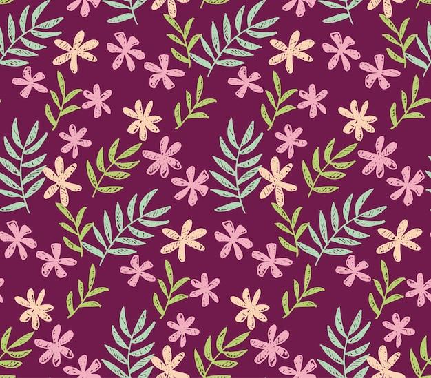 Fleurs tropicales modèle sans couture sur la couleur rouge foncé. Vecteur Premium