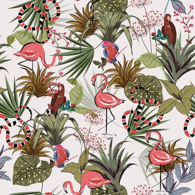Fleurs tropicales, vectorielle continue de palm jungle Vecteur Premium