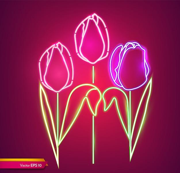 Fleurs de tulipes au néon Vecteur Premium