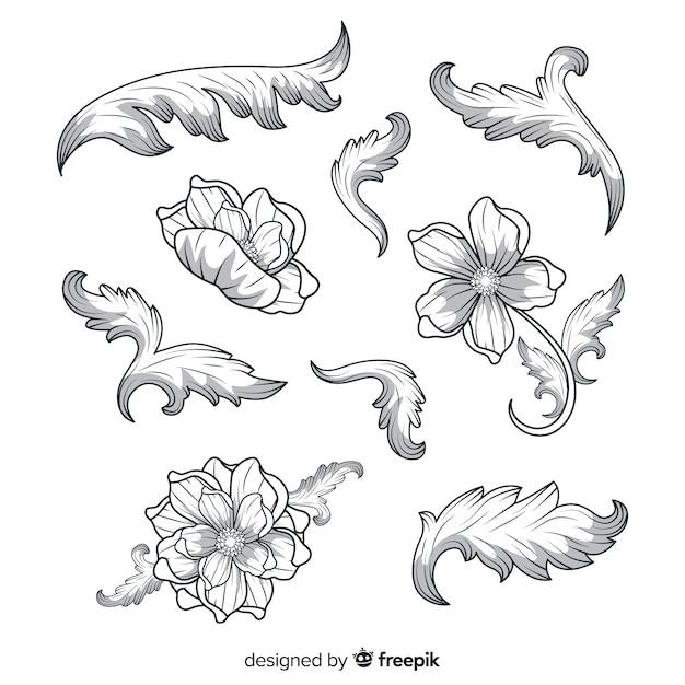 Fleurs vintage baroques dessinés à la main réaliste Vecteur gratuit