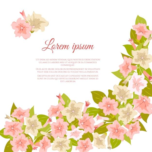 Fleurs vintage pastels roses autour d'un fond blanc Vecteur Premium