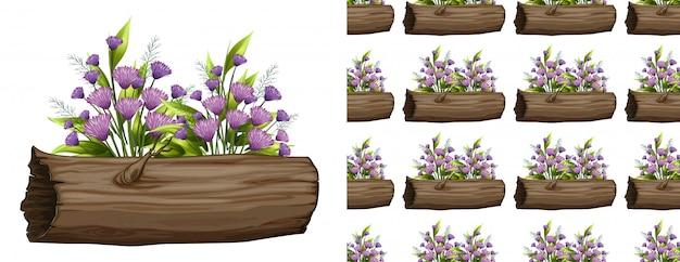Fleurs violettes sur modèle sans couture de journal Vecteur gratuit