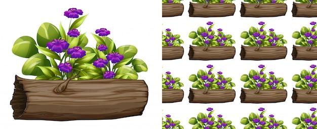 Fleurs violettes sans soudure sur le journal Vecteur gratuit