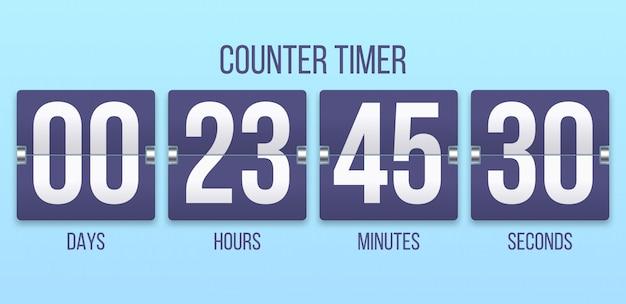 Flip Timer D'horloge. Compte à Rebours Jours, Comptage Des Heures Et Des Minutes. Illustration De Minuteries Flipclock Vecteur Premium