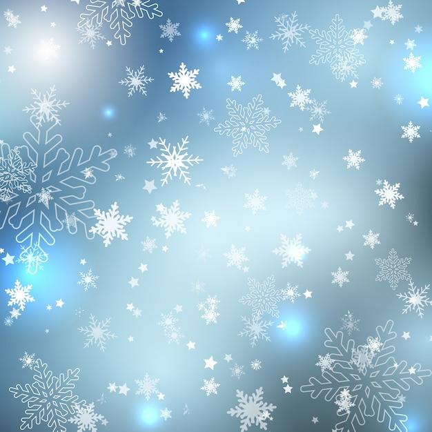 Flocons de neige d'hiver Vecteur gratuit
