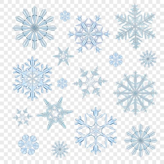Flocons de neige bleu transparent Vecteur gratuit