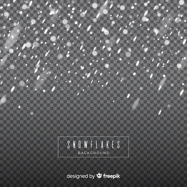 Flocons de neige chute réaliste en arrière-plan transparent Vecteur gratuit