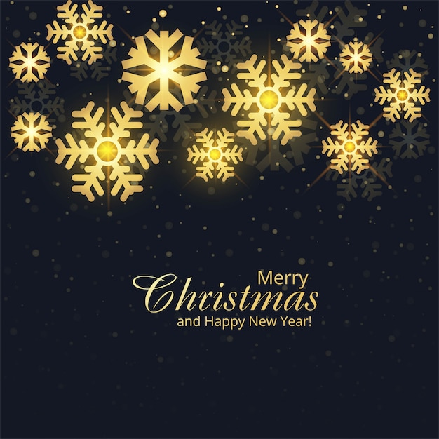 Flocons De Neige Dorés Joyeux Noël Carte Fond De Vacances Vecteur gratuit