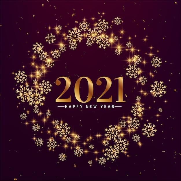 Flocons De Neige élégants Bonne Année 2021 Vecteur gratuit