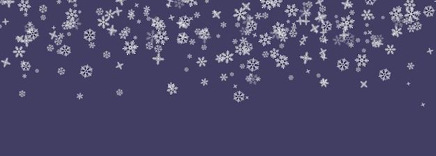 Flocons de neige tombant du ciel Vecteur Premium