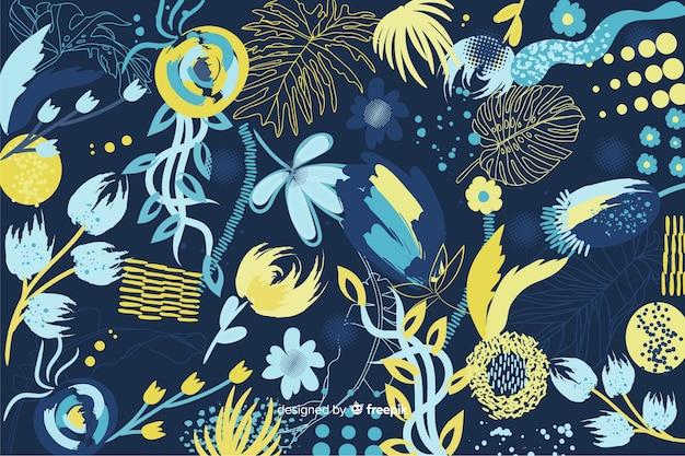 Floral abstrait dans un style peint Vecteur gratuit