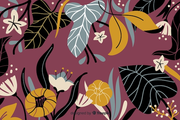 Floral Abstrait Dessiné à La Main Vecteur Premium