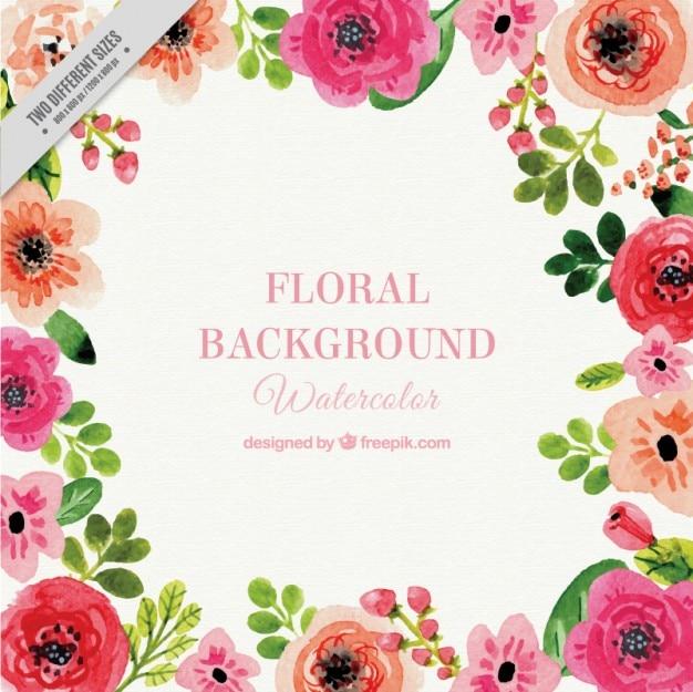 Floral aquarelle bacground Vecteur gratuit
