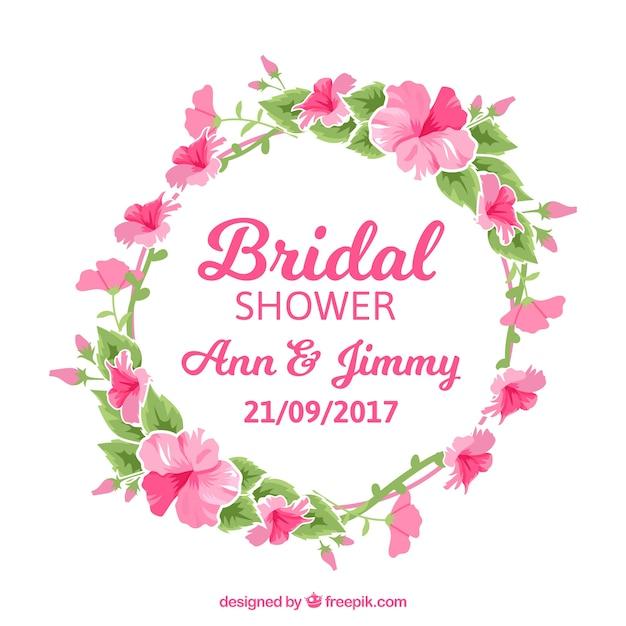 Floral aquarelle couronne de mariée partie de douche Vecteur gratuit