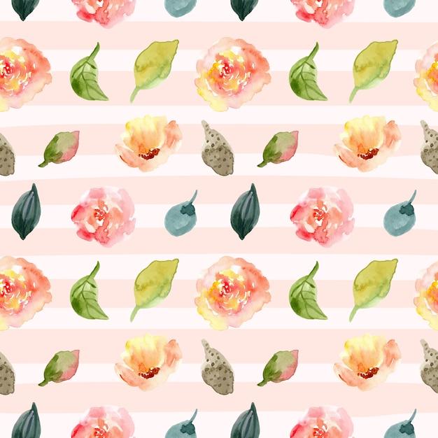 Floral aquarelle transparente motif et fond de ligne. Vecteur Premium