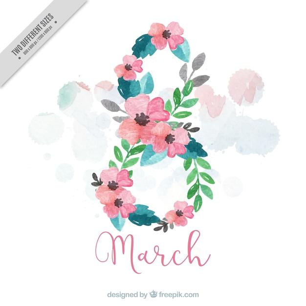 Floral background peint à l'aquarelle pour la journée des femmes Vecteur gratuit