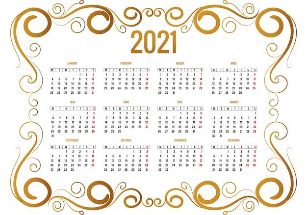 Floral Décoratif Ornemental Pour La Conception Du Calendrier 2021 Vecteur gratuit