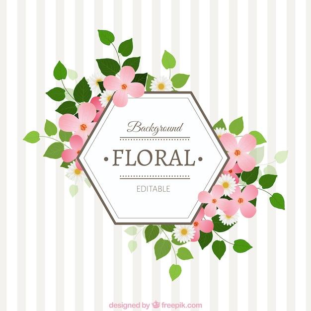 Floral 233 Tiquette Hexagonale T 233 L 233 Charger Des Vecteurs
