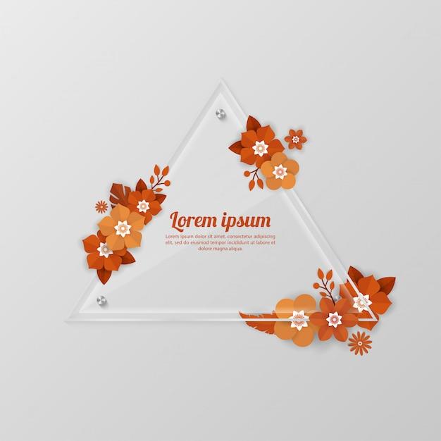 Floral fond avec modèle de cadre de verre pour les événements shopping, vacances et voeux, cartes d'invitation Vecteur Premium