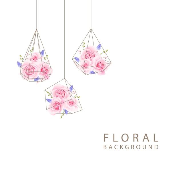 Floral fond avec rose rose en terrarium Vecteur Premium