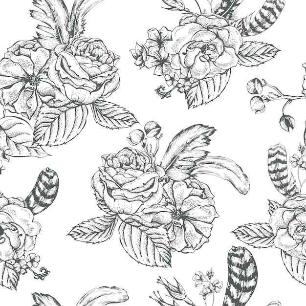 Floral fond sans couture avec des roses et des plumes Vecteur Premium