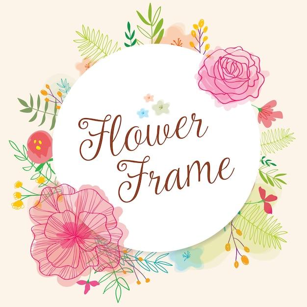 Floral Frame Round Backround Vecteur gratuit
