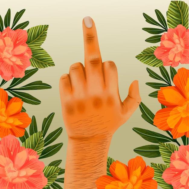 Floral Fuck You Symbol Avec La Main Humaine Vecteur gratuit