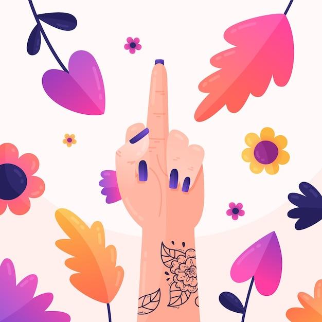 Floral Fuck You Symbol Vecteur gratuit