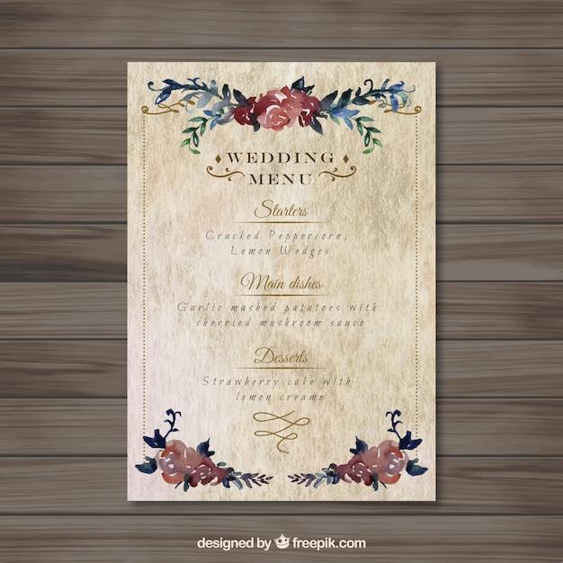 Assez Floral menu mariage vintage | Télécharger des Vecteurs Premium XD48