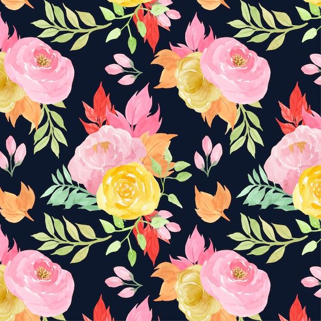 Floral modèle sans couture avec des fleurs roses et jaunes Vecteur Premium