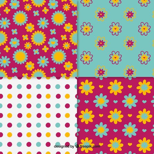Floral Et Motifs Pointillés Collection Vecteur gratuit