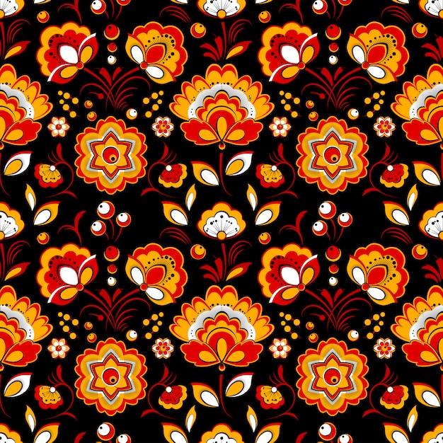 Floral pattern sans couture dans le style de pays russe Vecteur Premium