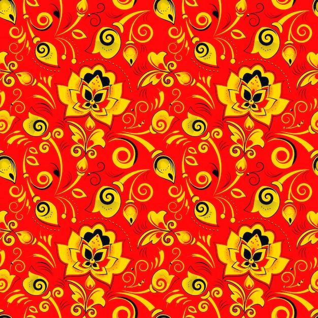 Floral pattern sans couture dans le style russe khokhloma Vecteur Premium