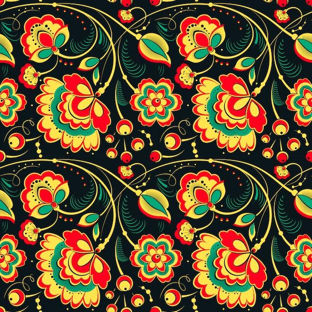 Floral pattern sans couture dans le style slave Vecteur Premium
