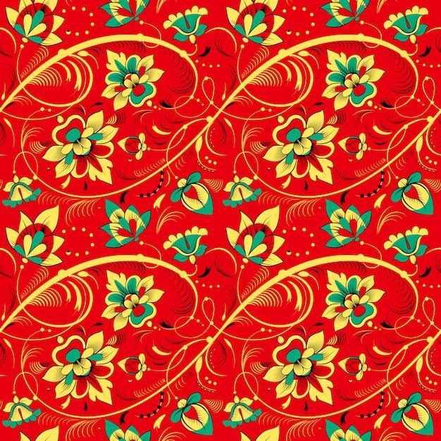 Floral pattern sans couture dans le style de la tradition russe Vecteur Premium