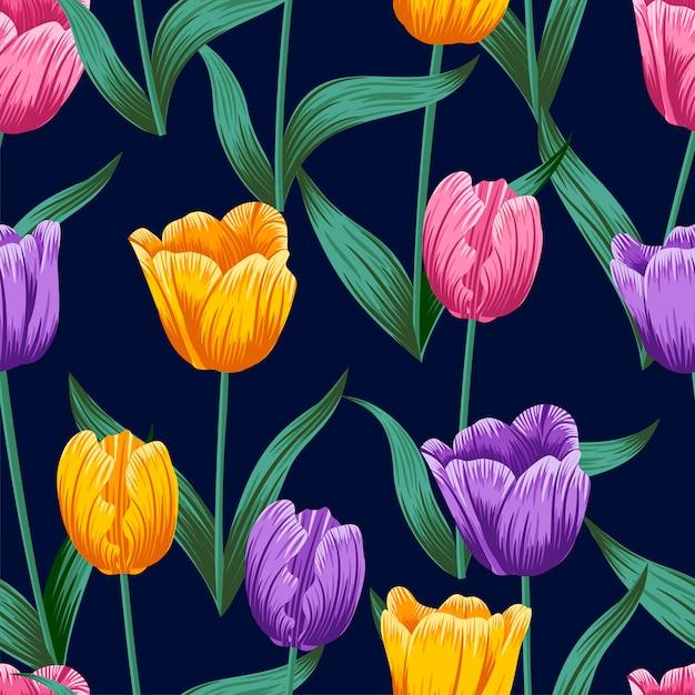Floral Pattern Sans Couture Avec Feuilles Vecteur Premium