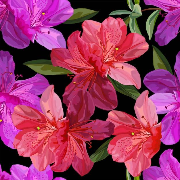 Floral Pattern Sans Couture Avec Illustration Vectorielle Azalée Vecteur Premium