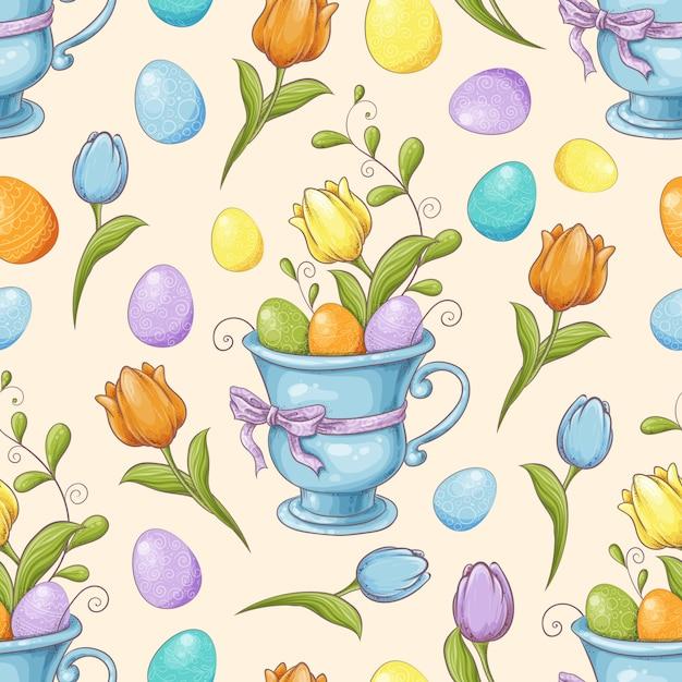 Floral Pattern Sans Couture Avec Oeufs Et Fleurs Stylisées
