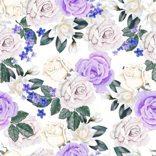 Floral Pattern Sans Couture Avec Rose Vecteur Premium