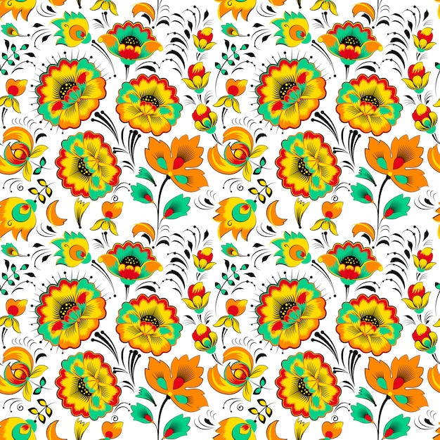 Floral pattern sans couture en style slave Vecteur Premium